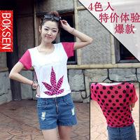 T-shirt female summer short-sleeve 2014 print rhinestones gauze loose women's