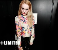 859 summer fashion personality sexy print multicolour long-sleeve chiffon shirt