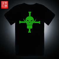 Luminous t-shirt white beard neon color male short-sleeve T-shirt clothes