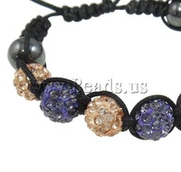 Free shipping!!!Rhinestone Shamballa Bracelets,2013 Fashion, Clay, with Wax Cord & Non-magnetic Hematite, handmade