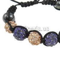 Free shipping!!!Rhinestone Shamballa Bracelets,2013 Fashion, Clay, with Wax Cord & Non-magnetic Hematite, handmade