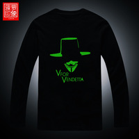 Luminous t-shirt cos v personality neon color men's clothing long-sleeve T-shirt clothes