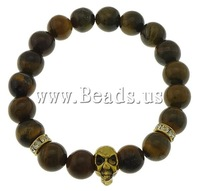 Free shipping!!!Tiger Eye Bracelet,Kawaii,, with Iron & Zinc Alloy, Skull, antique gold color plated, with rhinestone, 10mm