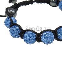 Free shipping!!!Rhinestone Shamballa Bracelets,Cheap, Clay, with Wax Cord & Non-magnetic Hematite, handmade, with rhinestone