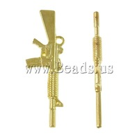 Free shipping!!!Zinc Alloy Tool Pendants,Women Jewelry, Gun, 24K gold plated, nickel, lead & cadmium free, 14x45x3.50mm