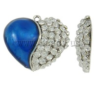 Free shipping!!!Zinc Alloy Heart Pendants,tibetan, antique silver color plated, enamel & with rhinestone, nickel