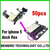 50pcs original Charger Connector Dock Flex Cable for iphone 5 5g Headphone Audio Jack by free shipping B1212
