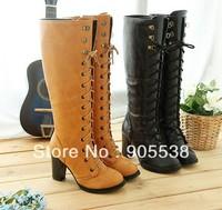 Big size 2013 Cross strap Martin boots Side zipper women's boots Knee-high boots size:30 31 32 33 34-38 39 40 41 42 43
