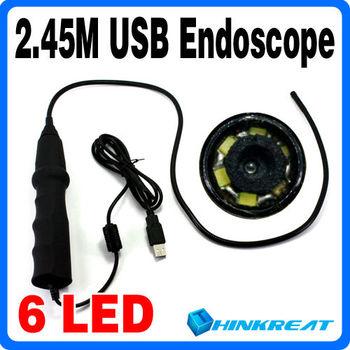 3Pcs/Lot 2.45M Mini USB Waterproof Endoscope 6LED Borescope Snake Inspection Camera CC06#