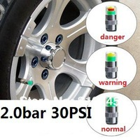 Free shipping New 2.0bar 30PSI car Tire Pressure Monitor Valve Stem Cap Sensor Indicator 3 Color Eye Alert, 4packs=16pcs/lot