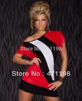 aolover 2014 women  off shoulder striped slim dress 1492 lady wholesale clubwear beauty babydoll