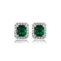 Derongems_Fine Jewelry_Elegant Emerald Stones Stud Earrings_S925 Solid Sliver Plated 18KPG_DREE009_Factory Directly Sales