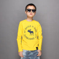 Free shipping Children's clothing child long-sleeve T-shirt 100% o-neck cotton teenage child basic shirt boy top