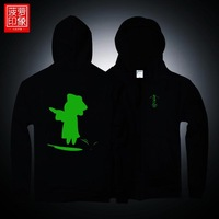 Luminous small zombie personalized men's clothing autumn and winter with a hood cardigan zipper sweatshirt outerwear clothes