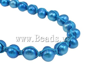 Free shipping!!!Natural Cultured Freshwater Pearl Jewelry Sets,Wedding Jewelry, bracelet & necklace, with Wax Cord, Oval, blue
