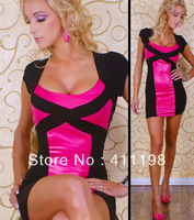 2014 HOT SUMMER women summer sexy clubwear 1494 lady causel dress patchwork striped front 2 colors