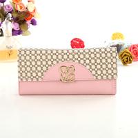 Wallet women's medium-long color block bag zipper coin pocket 2013 70 pink