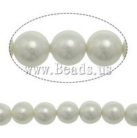 Free shipping!!!South Sea Shell Beads,Korean, Round, white, 10mm, Hole:Approx 0.5mm, Length:15 Inch, 38PC/Strand