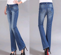 New 2014 Plus size (28-40) women jeans female large size 6XL high waist flare pants ladies slim bell bottom trousers