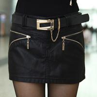 Free Shipping Fashion Women's PU Skirts 2013 New In Slim Tight Hip Cool Female PU Mini Skirts Black Plus Size With Belt
