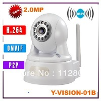 Freeshipping 1080P H.264 P2P Ip camera with 2-Way Audio 2mp wifi ip camera support ONVIF  and smartphone to view