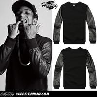 A ap asap rocky male pu leather side zipper sweatshirt outerwear KTZ HBA PYREX 23 brand designer pullover shirt
