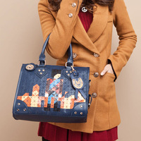 2012 mosaic bag cartoon bag handbag messenger bag female bags d536 lock anti-theft bag
