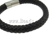 Free shipping!!!Leather Cord Bracelet,Fashion Jewelry in Bulk, brass bayonet clasp, black, nickel, lead & cadmium free, 8mm