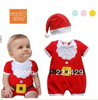 wholesale-new arrive children baby Christmas model with hat romper baby children Climbing clothing Jumpsuit for free shipping