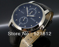 43mm Parnis textured black dial power reserve automatic men watch flat glass 289