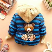 1PCS Retail,baby boy jacket 1pcs/1lot boy clothing 100% cotton striped children's winter outerwear,fashion bear coat 4 colors