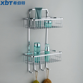 Stainless steel bathroom shelf double layer with hook basket f2806f2806