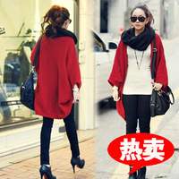 Autumn new arrival 2013 fashion medium-long batwing sleeve cape outerwear knitted cardigan