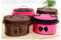 Compression 3979 portable cosmetic bag large capacity lace decoration cosmetic storage bag