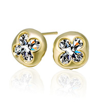 Free shipping 18K E288 Wholesale high quality plated 18K real gold rhinestone crystal  earrings fashion woman's jewelry