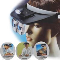 Headband Headset LED Head Light Magnifier Magnifying Glass Loupe 4x Lens