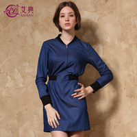 2013 autumn color block stand collar slim plus size thin long-sleeve denim one-piece dress fashion