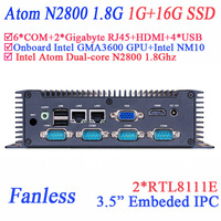 small panel pc 3.5 inch with Intel Atom Dual-core N2800 1.8Ghz 6 RS232 2 Gigabyte 4 USB 1G RAM 16G SSD Windows or linux proload