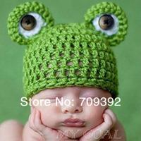 Baby Infant Newborn Handmade Crochet Knit Cap Frog Hat Costume Photograph Prop[240818 ]