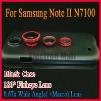 Free Shipping! Red 180 Degree Fisheye +0.67x Wide Angle +Macro Lens+Back Case for Samsung Galaxy Note II N7100, Drop SHIPPING!