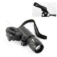 Free Shipping Cree Q5 LED Zoomable Head Flashlight Torch light Bike Bicycle Mount Holder Set