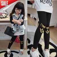 2014 Autumn 5pcs/lot girls leopard pants, girls fashion cotton embroidery pants, elastic waist legging pants for Autumn