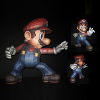 Free shipment anime figure Paper model super Mario brother Mario 40CM height /3d puzzles kids' Educational toys Decoration