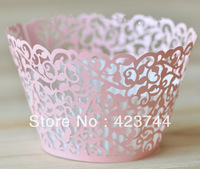 Pink Flower Lace cupcake wrappers bulk 36pcs/lot baking paper for wedding and festival party free shipping
