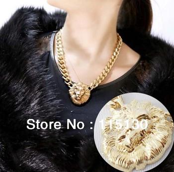 Gothic Punk Rock Choker Lionhead Gold Chain Necklace Chunky Gold Chain Pendant Necklace Lionhead Jewelry Wholesale
