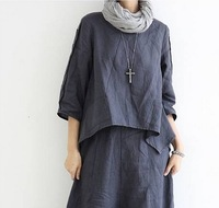 Ladies fashion round neck three quarter sleeve buttons decor asymmetrical hem solid loose linen blouse free shipping A738-A86