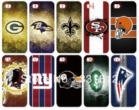 10PCS/lot  new unique design 32 NFL teams white hard back cover case for iphone 4 4s 4G+free shipping