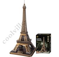 Hot selling Eiffel Tower 3D puzzles DIY 3D jigsaws exquisite interior decoration best gifts 82pcs 82*39cm large size