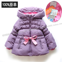 Thickening female child baby winter female child down coat thickening wadded jacket outerwear top cotton-padded jacket