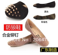 Promotion!!!2013 New Fashion Women Round toe Rivet flats shoes ,3 color ,free shipping